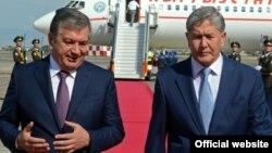 Шавкат Мирзиёев менен Алмазбек Атамбаев Самарканд шаарында. 2016-жылдын декабры
