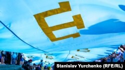 Ukraine, Kyiv - Day of Crimean Tatar flag in the capital of Ukraine, 26Jun2016