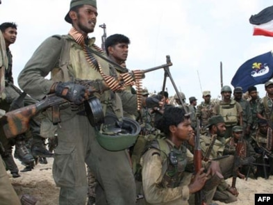 Sri Lankan troops on May 16 after reportedly capturing the the last patch of coastline in rebel-held Mullaittivu district