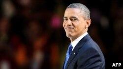 Барак Обама во время выступления в Чикаго