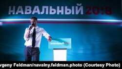 Russian opposition leader Aleksei Navalny at a rally in Omsk