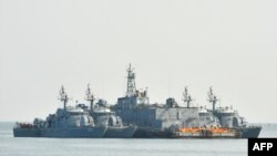 The South Korean Navy floats off the coast of South Korea-controlled island of Yeonpyeong near the disputed waters of the Yellow Sea. South Korea launched a series of military exercises on December 23.