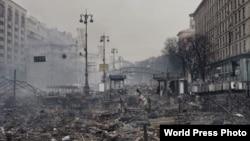 Площадь Независимости (Майдан Незалежностi) в Киеве 19 февраля 2014 года