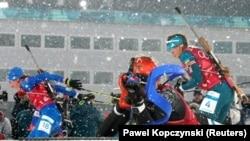Соревнования по биатлону на Олимпиаде в Пхёнчхане, 22 февраля 2018 года.