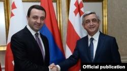 Грузия - Встреча президента Армении Сержа Саргсяна (справа) с премьер-министром Грузии Ираклием Гарибашвили в Тбилиси, 19 июня, 2014 г․