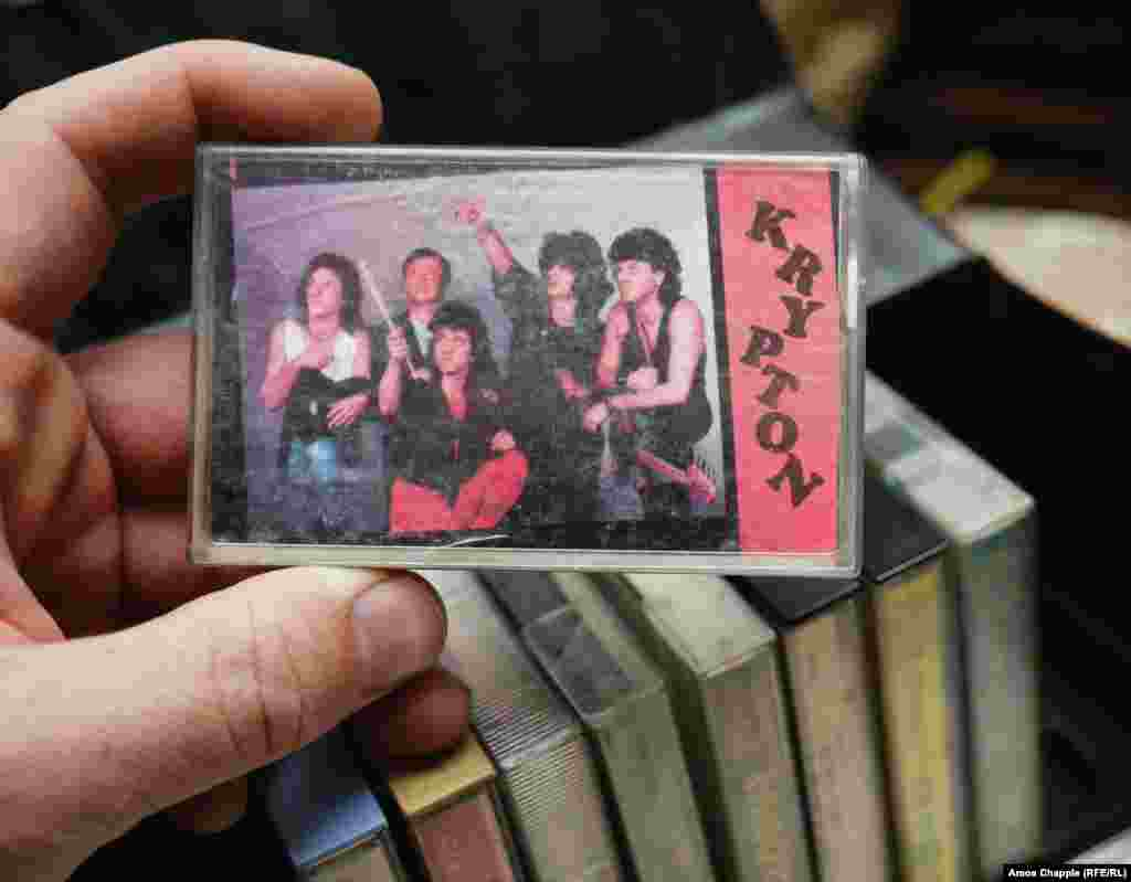 A box of music tapes. Krypton was a rock group founded in 1982 and warily tolerated by the communist authorities.