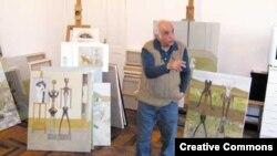 Հակոբ Հակոբյանը իր արվեստանոցում, լուսանկարը` Armenian reporter-ի