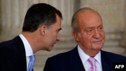 Իսպանիա - Գահից հրաժարված Խուան Կարլոսը և արքայազն Ֆելիպեն, Մադրիդ, 18-ը հունիսի, 2014թ․