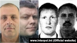 The Interpol images of (from left to right) Predrag Bogicevic, Nemanja Ristic, Vladimir Popov, and Eduard Shirokov -- suspects in the assassination attempt and coup in Montenegro in 2016