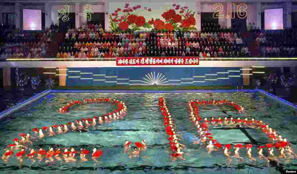 Synchronized swimmers perform to celebrate Kim Jong Il's birthday, which falls on February 16, in Pyongyang in February 2011.