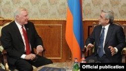 Armenia - President Serzh Sarkisian (R) meets with U.S. Congressman Dan Burton in Yerevan, 6Sept2012.