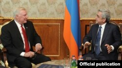 Armenia - President Serzh Sarkisian (R) meets with U.S. Congressman Dan Burton in Yerevan, 6Sept2012.