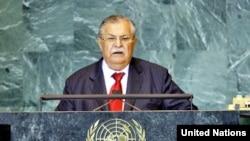 طالباني يلقي كلمة العراق في إجتماع الجمعية العامة للأمم المتحدة بنيويورك عام 2008