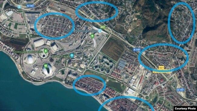 Расположение жилых поселков в Имеретинской низменности