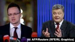 Петер Сійярто (л), Петро Порошенко (п), комбіноване фото