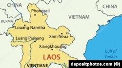 Фрагмент карты Лаоса.Иллюстративное фото.