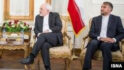 حسین امیر عبدالهیان (راست) پس از برکناری از مقام خود مشاور محمد جواد ظریف شد.