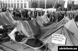 """A poster on one of the tents during the Revolution On Granite reads: """"Better to die than to live in the Soviet Union!"""""""