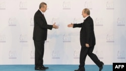 Turkish President Recep Tayyip Erdogan (left) greets Russian President Vladimir Putin as he officially arrives for the G20 summit in Antalya, Turkey, in November 2015.