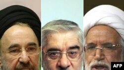 Слева направо: экс-президент Мухаммад Хатами, Мир-Хусейн Мусави и Мехди Кярруби
