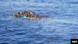 Район в Средиземном море, где затонула лодка с беженцами. 20 апреля 2016 года.