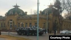 Uzbekistan - military armored vehicle in the center of Kokand city, Ferghana region, December 6, 2013.