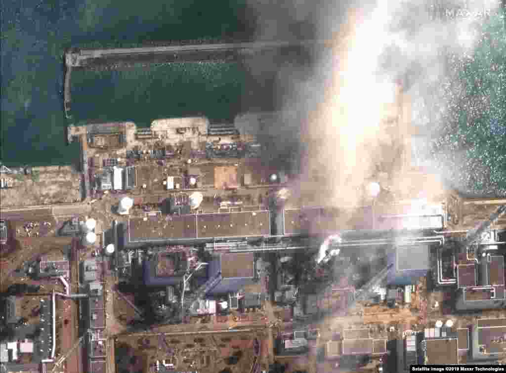 Satellite image shows nuclear power plant in Fukushima after the explosion on March 14, 2011.