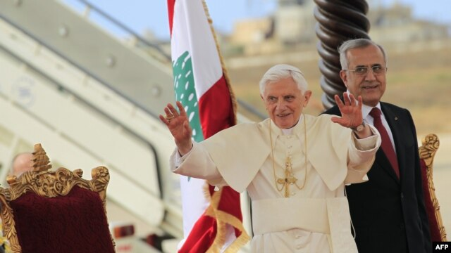 Pope Benedict XVI arrives in Lebanon.