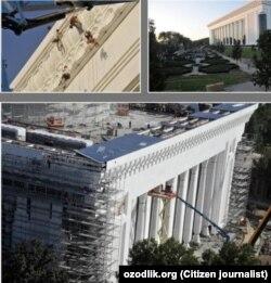 Процесс строительства «Дворца международных форумов» в Ташкенте.