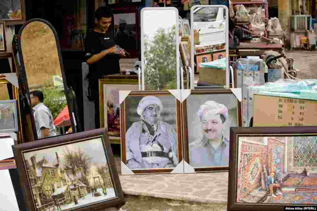 Paintings for sale in Irbil, in Iraq's autonomous Kurdish region