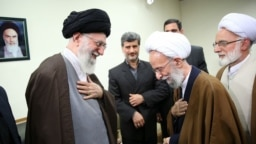 Iran -- Iranian Supreme Leader Ali Khamenei and conservative cleric Taghi Mesbah Yazdi, undated.