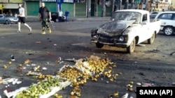 صحنه انفجار انتحاری در سویدا سوریه