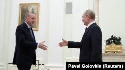 Президенти Туреччини і Росії, Реджеп Ердоган і Володимир Путін (праворуч). Москва, 5 березня 2020 року