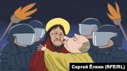 Політична карикатура «Путін і Габишев» російського художника Сергія Йолкіна