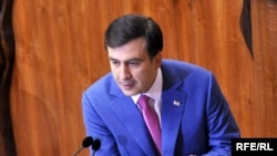 Georgian President Mikhail Saakashvili speaks during an October parliament session in Tbilisi