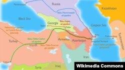 Трубопровод Баку-Тбилиси-Джейхан на карте.