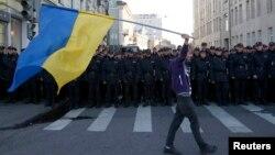 Під час антивоєнного мітингу в Москві, 21 вересня 2014 року