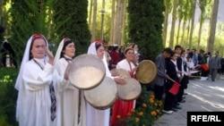 Tajikistan - Women with doyra (doira), musical instrument, Khorugh, 17Oct2009