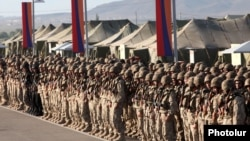 Armenia - Soldiers lined up for a CSTO military exercise near Yerevan, 15Sep2012.