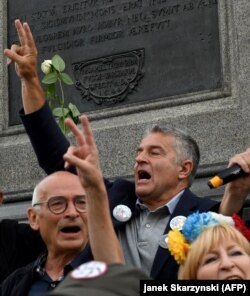 Фрасынюк падчас пратэсту супраць судовай рэформы ў Польшчы, 2017 год