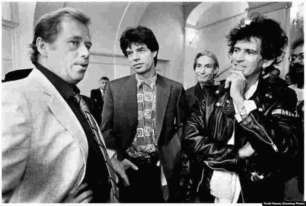 Havel, a rock fan, meets members of the Rolling Stones on August 18, 1990, the day of the music legends' first concert in postcommunist Czechoslovakia.