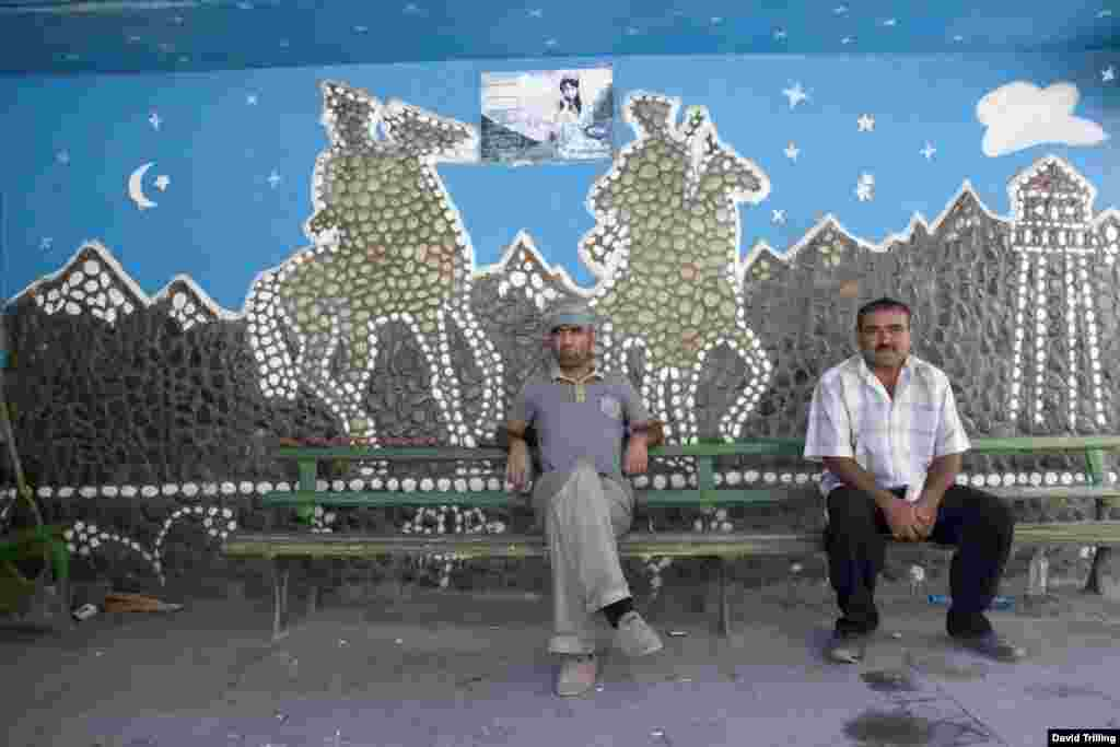 Tajikistan -- a bus stop in Khorogh, on the Afghan border, honors border guards protecting the Soviet Union's southern frontier.