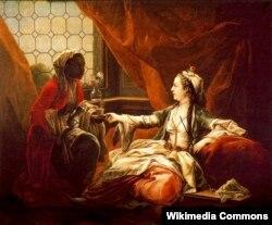 Мадам де Помпадур в турецком костюме. Художник Шарль Андре ван Лоо. 1747.
