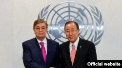 Спикер сената Казахстана Касым-Жомарт Токаев (слева) и генеральный секретарь ООН Пан Ги Мун. Иллюстративное фото.
