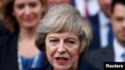 Консервативдик партиясынын лидери болуп дайындалган Тереза Мэй журналисттер менен жолугушуп жаткан учуру. Вестминстер, борбордук Лондон. 11-июль, 2016.