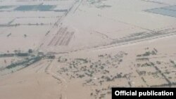 Подтопленная территория после прорыва дамбы Сардобинского водохранилища.