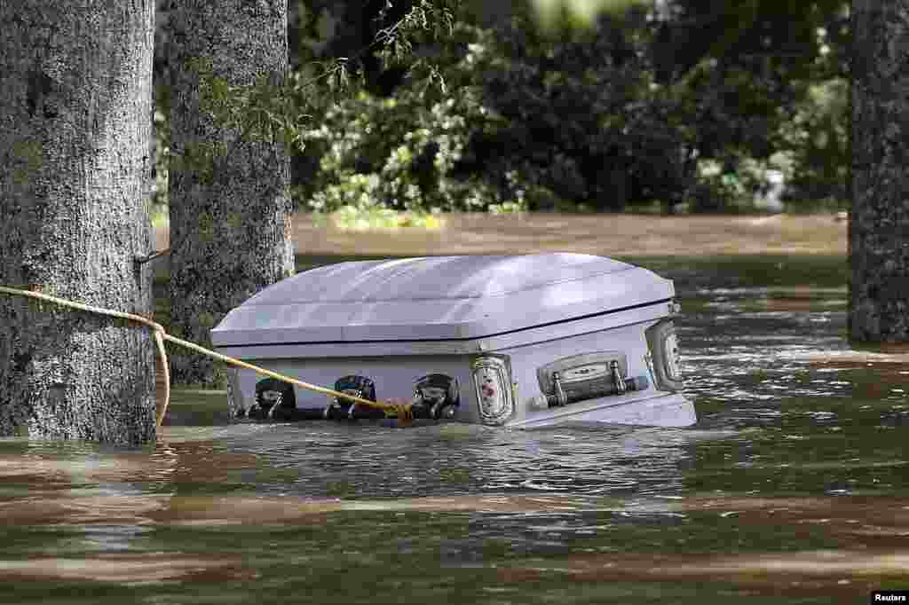 A casket is seen floating in floodwaters in Ascension Parish in the southern U.S. state of Louisiana. At least 40,000 homes have been damaged, 30,000 people have been rescued, and at least 11 people killed in the record flooding. (Reuters/Jonathan Bachman)