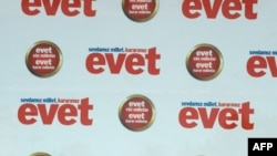 """Prime Minister Recep Tayyip Erdogan implores voters at a """"yes"""" (""""evet"""") rally in Istanbul on September 5, one week ahead of the referendum."""