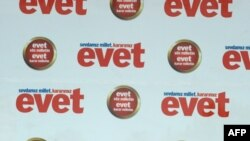"Prime Minister Recep Tayyip Erdogan implores voters at a ""yes"" (""evet"") rally in Istanbul on September 5, one week ahead of the referendum."