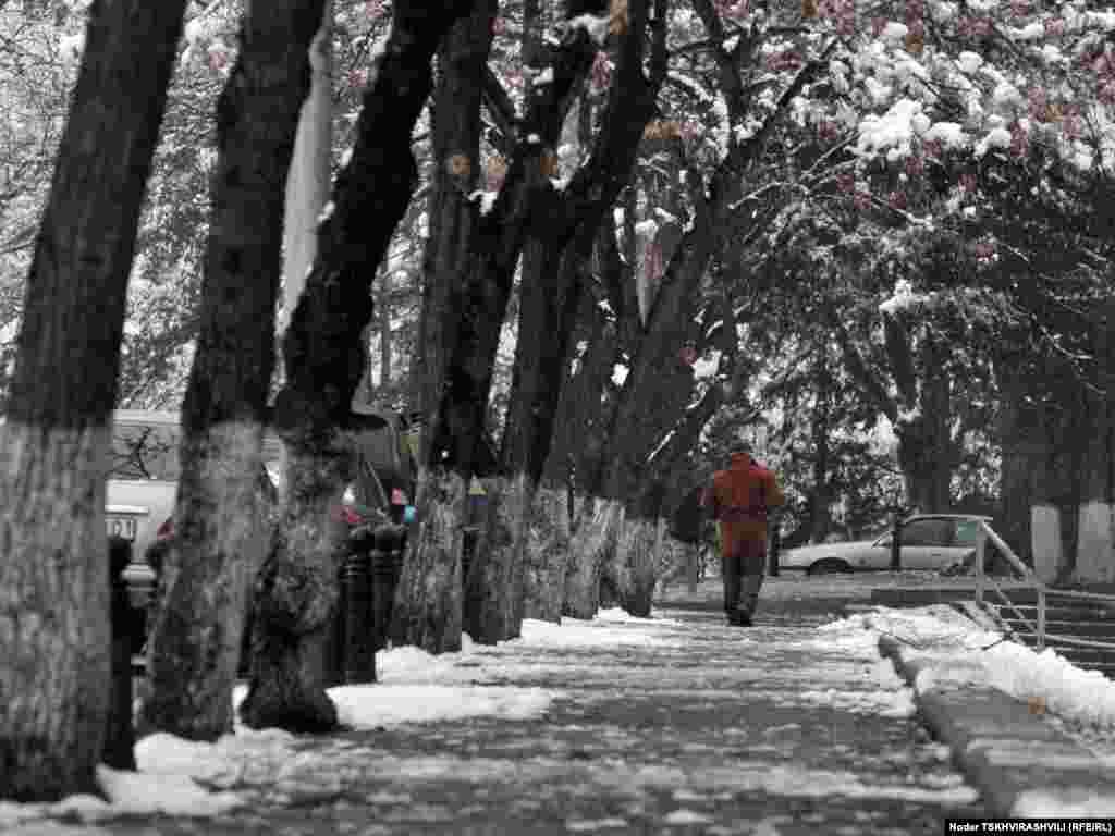 ფეხით მოსიარულე - უჩვეულოდ უნალექო და თბილი ზამთრის ბოლოს საქართველოში თოვლი მოვიდა. მეორე დღეა, უკვე თბილისშიც თოვს.